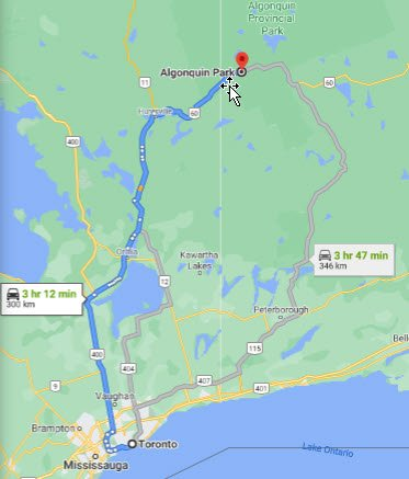 Algonquin Provincial Park Driving Map