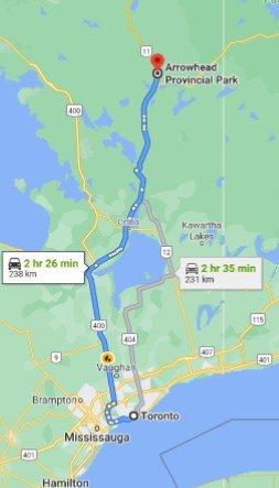 Arrowhead Provincial Park Driving Map