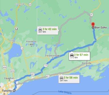 Bon Echo Provincial Park Driving Map