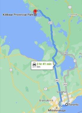 Killbear Provincial Park Driving Map