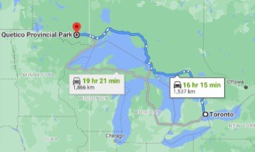 Quetico Provincial Park Driving Map