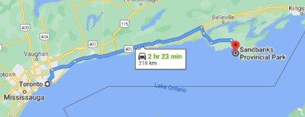 Sandbanks Provincial Park Driving Map