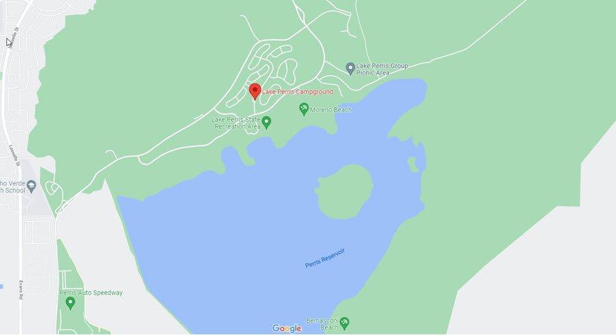 Map of Lake Perris Camping