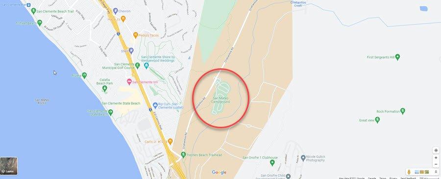 Map of San Mateo Campground